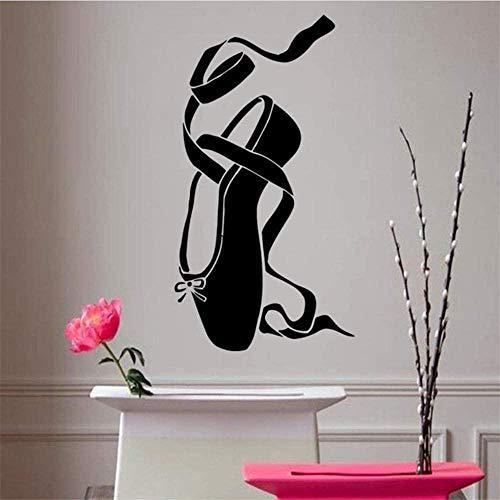 HZDXT Calcomanía de vinilo de ballet niña Pointes zapato de ballet pegatinas de pared extraíble bailarina danza pared calcomanía niños habitación decoración mural tamaño 31 X 57Cm