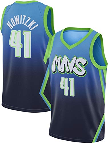 ATI-HSKJ NBA Dallas Mavericks Basketball Maglie, Dirk Nowitzki 41# Jersey Respirabile Freddo Tessuto Swingman Maniche Canotta Abbigliamento,XL(180~185cm/85~95kg)