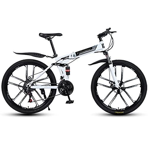 PBTRM Bicicleta Montaña Plegable, 26 Pulgadas, Asiento Ajustable, Altura Aplicable 160-185Cm, MTB para Hombres O Mujeres,Blanco,24 Speed