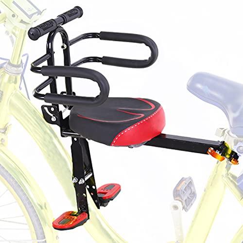 Asiento Infantil Plegable Bicicleta,Silla Bicicleta Niño Delantera,Pedal Pie Ajustable con Asa Antideslizante,Vallas...