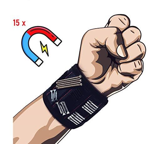 Magnetarmband Für Handwerker mit 15 starken Magneten. Bestes 2020 männer Geschenk DIY Gadget, frauen, Heimwerker zum halten die kleine Werkzeuge und Schrauben und Nägel.