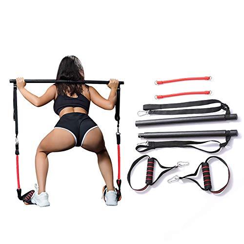 Tragbares Pilates Bar Kit Mit Widerstandsband,Bodybuilding Yoga Übung Pilates Stick Mit Fußschlaufe Für Ganzkörpertraining, Yoga, Fitness, Stretch, Sculpt,Schwarz,A*2 Pieces
