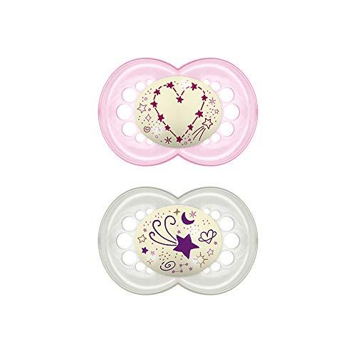 MAM Chupete Original Night S167 - Chupete con Tetina de Látex, para Bebé de 6+ meses, brilla en la oscuridad - Rosa (2 unidades) con caja auto Esterilizadora, Versión Española