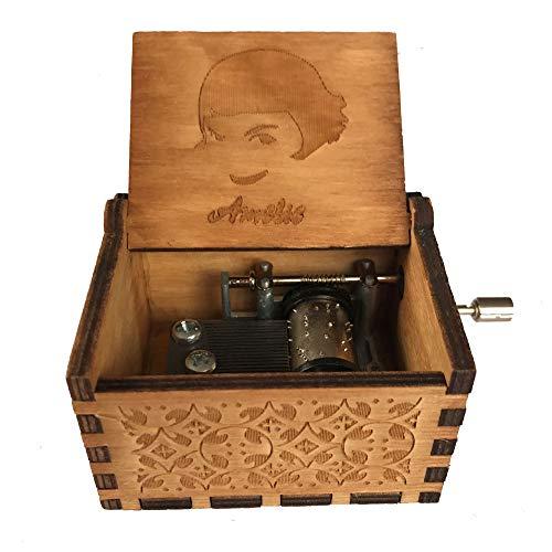 Caja de música de manivela de madera tallada antigua, caja musical exquisita del tema retro para el regalo del día de fiesta de cumpleaños size Amélie