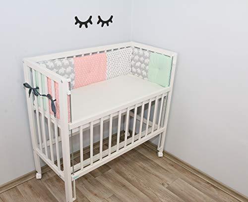 Baby Nestchen für Beistellbett (eckig) | Made in EU | ÖkoTex 100 | Schadstoffgeprüft | Antiallergisch | Baby Bettumrandung | Babynest |Elefant Mint Rosa | 170 x 25 cm | ULLENBOOM ®