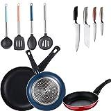 Bergner Set 3 sartenes (20+24+28cm) aluminio prensado, y 4 utensilios de cocina y 4 cuchillos de cocina, multicolor, inducción