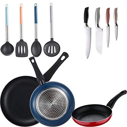 Bergner Lot de 3 poêles (20 + 24 + 28 cm) en aluminium pressé, 4 ustensiles de cuisine et 4 couteaux de cuisine, multicolore, induction