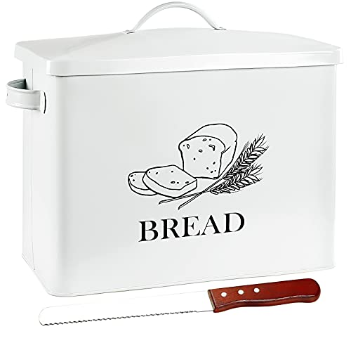 POZIEA Extra Large Farmhouse Bread Box with Bread Knife, Bread Storage for Kitchen Countertop Holds 2+ Loaves of Bread, Metal Storage to Keep Bread, Cookies, Bagels, Rolls Fresh (White)