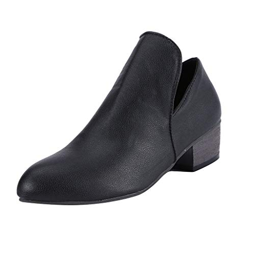 Hniunew Kurze Stiefel Damen Sandalen Mit Absatz Leder 3 cm Blockabsatz Wildleder Klassische Stiefeletten Ankle Boots Geschlossene Schuhe Rom Schuhe Sommer FrüHling Bootie Schlupfstiefel