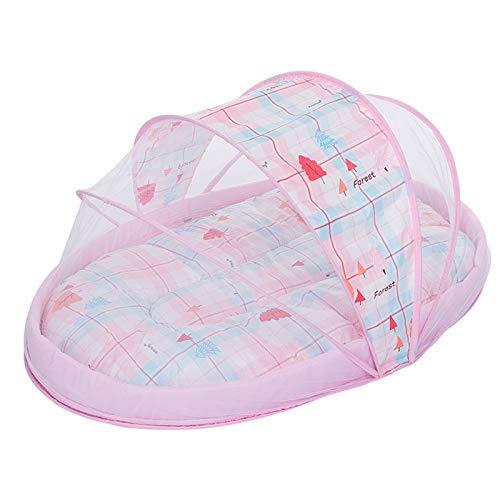 Cuna de Viaje para bebé, portátil, Cuna Plegable de Viaje con mosquiteras de Almohada para bebé,Pink