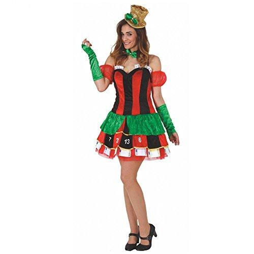 Mortino Kostüm Casino Frau Kleid Kartenspiel Fasching Las Vegas (XL)