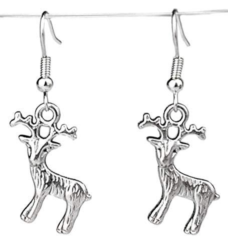 Charm Buddy Christmas Reindeer Dangle Dangly Earrings with Gift Bag Womens Girls