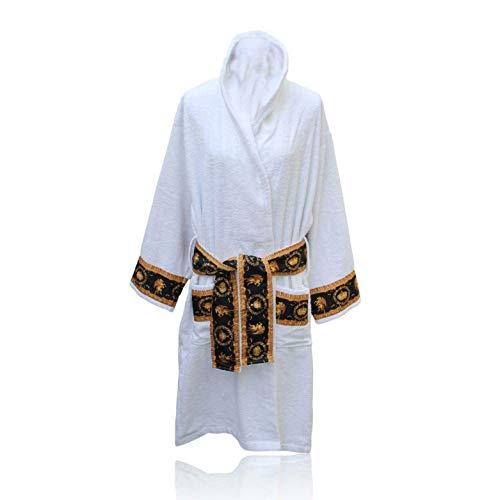 Belle Arti Bademantel aus Frottee 100% Baumwolle mit 2 großen Vordertaschen im Mäander Medusa Design für Damen und Herren Weiß Gold (S)