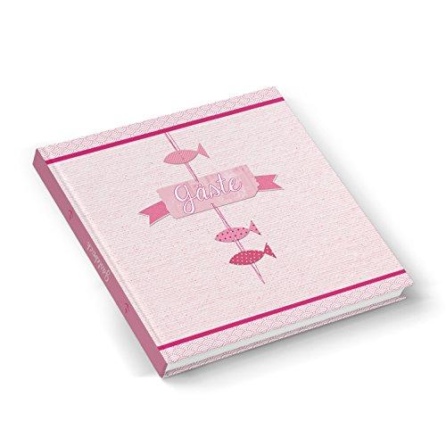 Roze rood roze gekleurd gastenboek vissen maritiem vissen roze 21 x 21 cm bruiloftsgastenboek - communie doop meisjes bruiloft vormsel hoogwaardige sterke bladeren, voor elke pen