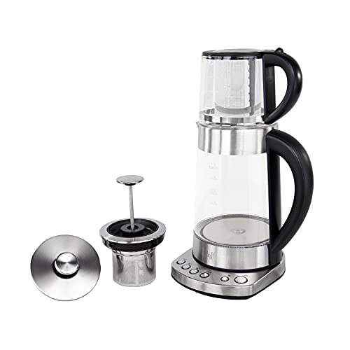 Impolio PREMIUM LED Glas Wasserkocher mit Temperatureinstellung und Warmhaltefunktion , Edelstahl Teesieb und Aufsatz…