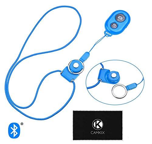CAMKIX Telecomando Otturatore Fotocamera con Tecnologia Wireless Bluetooth  - Blu - Cordino con Anello Rimovibile - Cattura Immagini/Video Senza Fili Fino a 10 m (30 ft) su iPhone/Android
