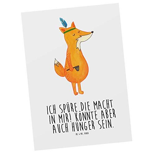 Mr. & Mrs. Panda Grußkarte, Ansichtskarte, Postkarte Fuchs Indianer mit Spruch - Farbe Weiß