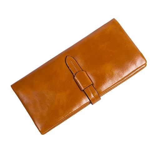 BAIGIO Portafoglio in Vera Pelle con Zipper Interno Portafoglio lungo da Donna Modello Elegante e Moderno Stile Casual e Business per Smartphone, (Marrone)
