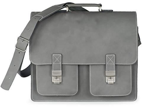 Große Aktentasche Lehrertasche Größe XL aus Leder, für Damen und Herren, Grau, Hamosons 690