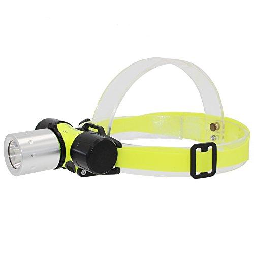 KC Fire Whaitfire - Faro de Buceo, 900 lúmenes, luz de Cabeza submarina, luz de Seguridad Ligera para Buceo, natación, Senderismo, Camping, Caza, Pesca, 18650 batería incluida