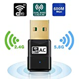 Maxesla WiFi Adaptador AC 600Mbps Mini USB WiFi Receptor Dual Band 2.4G/5GHz, WiFi Antena para PC Desktop Laptop Tablet, Soporta Mac OS X 10.6-10.14 / Windows XP/Vista /7/8/10