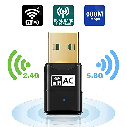 Maxesla WiFi Adaptador AC 600Mbps Mini USB WiFi Receptor Dual Band 2.4G/5GHz, WiFi Antena para PC Desktop Laptop Tablet, Soporta Mac OS X 10.6-10.14 / Ubuntu Linux/Windows XP/Vista /7/8/10