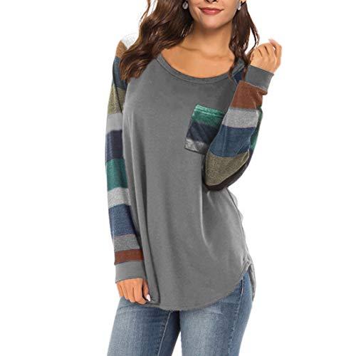 Shirt Damen T Shirt Damen Lange Elegant Casual Mode Sexy Rundhals Damen T-Shirt...
