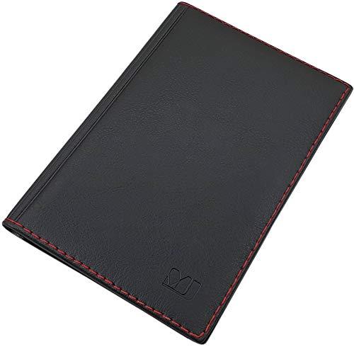 Gran Tarjetero para documento de Identidad y Tarjeta de crédito con 4 Bolsillos MJ-Design-Germany Made in UE (Diseño 2 / Negro)