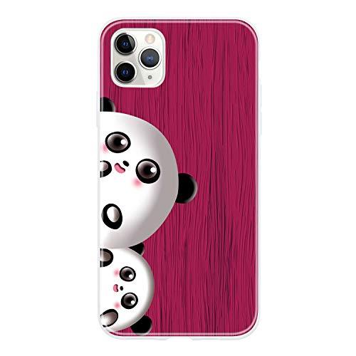 Miagon Holz Korn Hülle für iPhone 11 Pro Max,Ultra Dünn Weiche Silikon Handyhülle Cover Stoßfest Schutzhülle mit Schöne Süß Panda Muster,Rose Rot