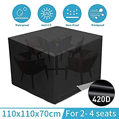 """king do way Outdoor Patio Furniture Covers Waterproof 110 X 110 X 70cm Patio Furniture Covers 420D Oxford Patio Furniture Set Covers, Windproof, Anti-UV, for Patio, Outdoor Black (43""""X43"""" X27"""")"""