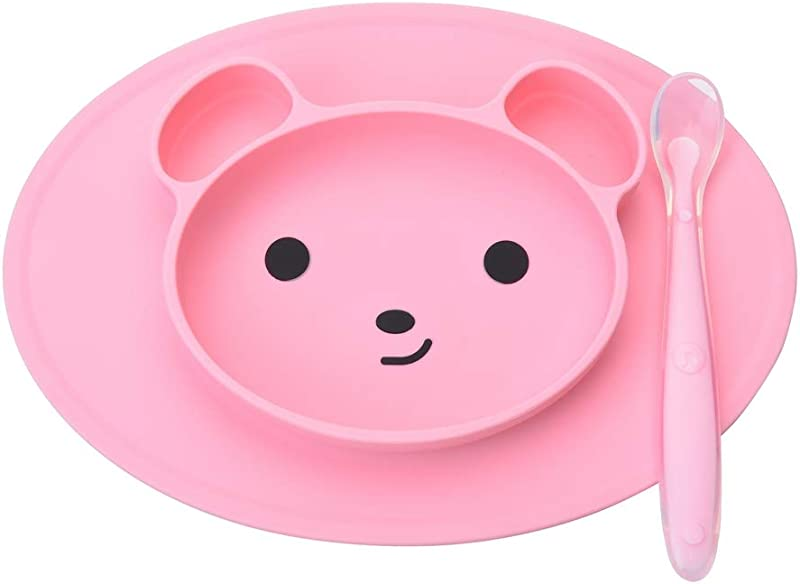 Siveit Silicone Kids Placemat Silicone Child Feeding Mat For Toddlers Plus 1 Baby Spoon Dishwasher And Microwave Safe Pink