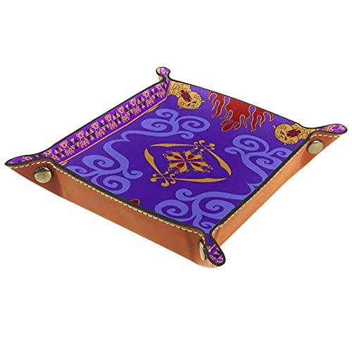 Plateau de voiturier, fourre-Tout en Cuir PU, Organisateur de Plateau, boîte de Rangement pour Montres Bijoux pièces Porte-clés Tapis Magique Aladdins
