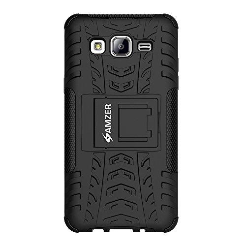 AMZER Impact Resistant Hybrid Warrior Case for Samsung Galaxy On5, Samsung Galaxy On5 Pro G-550FY - Black