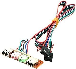 DealMuxデュアルメインボード9ピンヘッダーに2つのx USB 2.0ポート3.5ミリメートルオーディオメスアダプタケーブル61センチメートル長