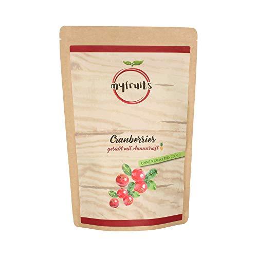 myfruits® Cranberries mit Ananassaft, getrocknet, ohne raffinierten Zucker. Perfekt für Müsli,...