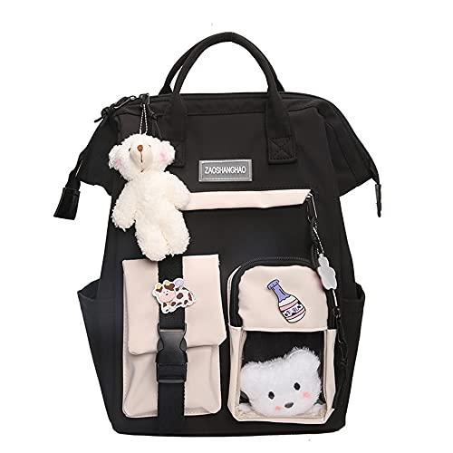 Kawaii - Mochila de lona para escuela, mochila Kawaii, mochila de gran capacidad, para escuela, para viajes, al aire libre, escuela, regalo para niña, Negro,