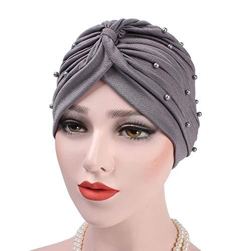 h Chemo Head Cap - Kurze Perlen Turban Geraffte weiche Abdeckung Hut Schal für Haarausfall Frauen Mädchen
