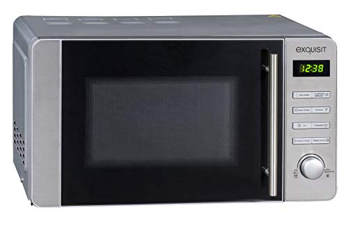 Exquisit MW 8020 H Mikrowelle mit Grill und Heißluft, 800 W, Inoxlook