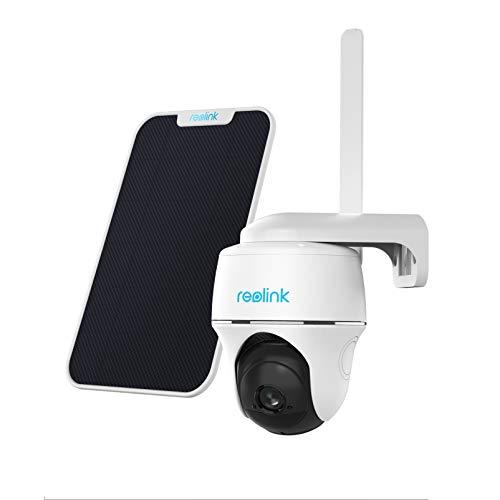 Reolink Solar Cámara de Seguridad Exterior Inalámbrica 3G/4G LTE, 1080P HD Cámara Recargable, Audio de 2 Vías, con Pan/Tilt, Tarjeta Micro SD de 16GB, Tarjeta Vodafone V-SIM, Go PT con Panel Solar