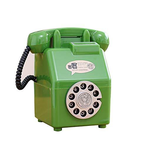 Yuan Ou Hucha Teléfono Niños Caja de Dinero Hucha de plástico Ahorro de Monedas Gran colección de Monedas clásicas Decoración del hogar Verde