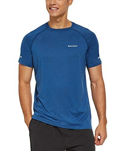 BALEAF Men's Quick Dry Short Sleeve T-Shirt Running Workout Shirts Heather Blue Size M