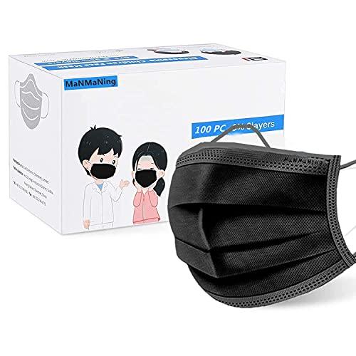 MaNMaNing Niños Infantil Negro Mascarillas con Elástico 100 Unidades para Los Oídos NM100