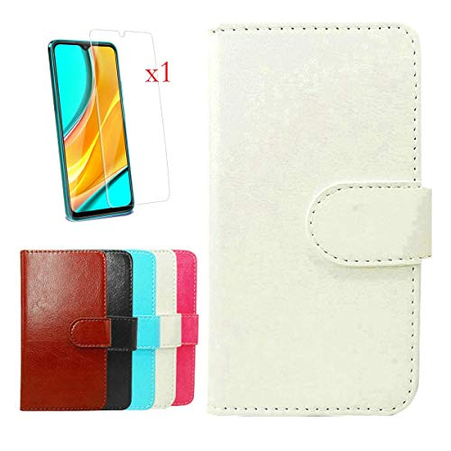 """Wallet Case for Nuu Mobile G5 (6.55"""") + Tempered Film Glass Screen Protector,YZKJ Flip PU Leather Case with Credit Card Slots and Stand Protective Cover - White"""
