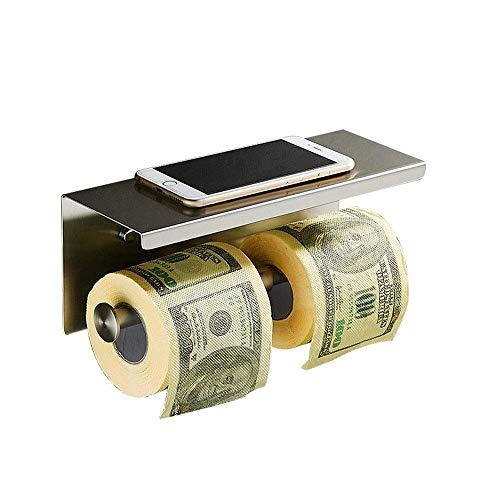 Estante de baño de acero inoxidable para baño, toallero de papel de baño, soporte para teléfono móvil, estante de almacenamiento de pared (color: plata, tamaño: 27 x 10 x 10 cm)