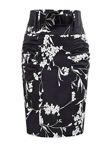 Women Vintage Floral Skirt Bodycon Midi Pencil Skirt L, Floral-14