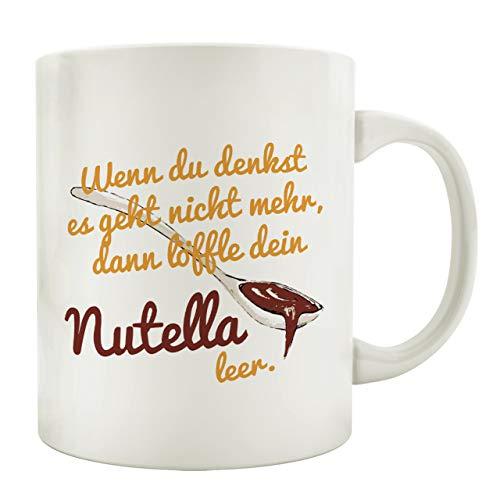 Interluxe Tasse Kaffeebecher WENN DU DENKST Nutella Spruch Lustig Motiv Geschenk
