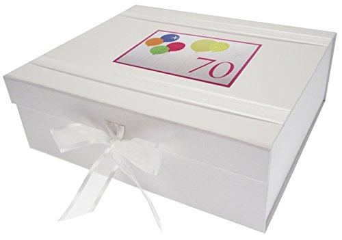 White Cotton Cards Boîte Souvenir 70th Birthday avec Ballons Fluo à Paillettes, Blanc, Taille L