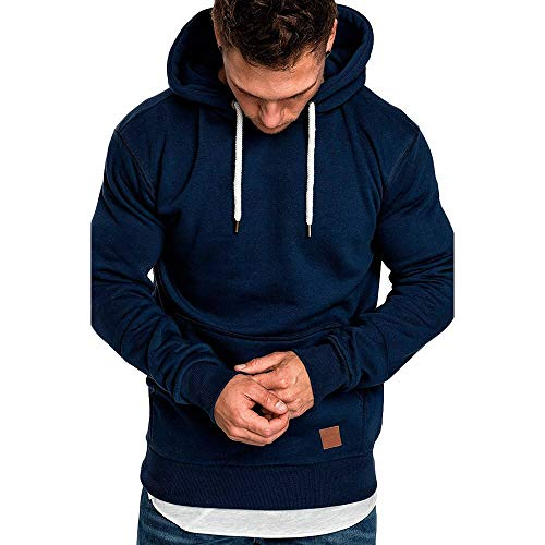 Herren Pullover Hoodie Basic Kapuzenpullover Langarm Männer Herbst Winter Casual Hoodie Sweatshirt Hoodies Top Trainingsanzüge Pulli Riou Sale (XL, Marine)