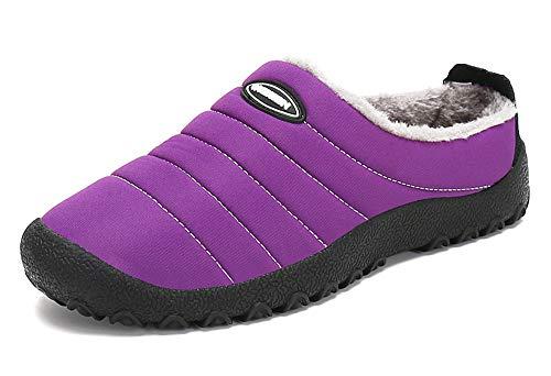 Zapatillas de Casa para Mujer Invierno Interior Exterior Antideslizantes Slippers,Morado,39