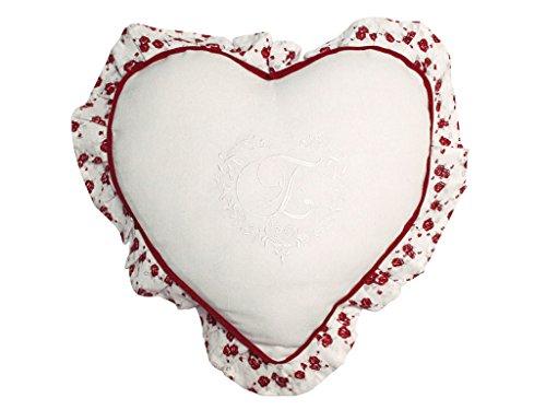 Soleil d'ocre Cojín corazón Bordado de algodón con Volante Eloise